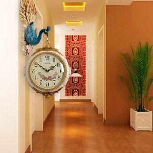 童幻欧式双面挂钟吊钟 孔雀装饰客厅玄关壁钟 静音石英钟两面时钟