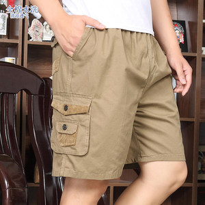 短裤男夏爸爸装中年<span class=H>五分裤</span>子休闲宽松中老年人纯棉父亲大裤衩外穿
