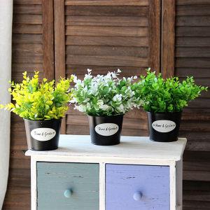 新款促销仿真绿植小盆栽尤加利含盆套装居家装饰摆放<span class=H>花艺</span>塑料假花
