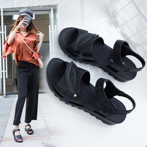 夏季新款中年妈妈舒适软皮凉鞋