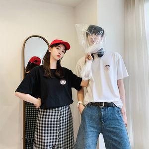 不一样的情侣套装t恤短袖女2019新款夏装宽松港风百搭#潮流<span class=H>女装</span>#