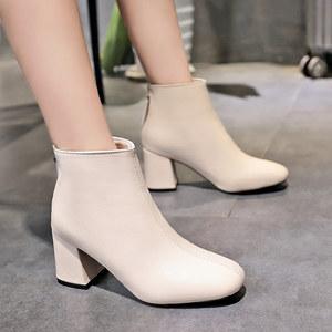 靴子女方头短靴女春秋2018新款欧美粗跟单靴裸靴高跟<span class=H>马丁靴</span>鞋子女