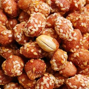 琥珀花生米500g袋装蜂蜜味办公室零食酥脆花生香辣脆裹衣芝麻小吃
