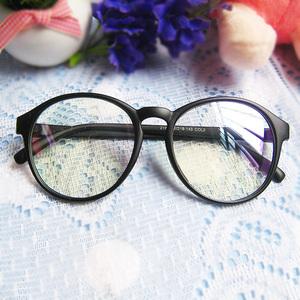 可配近视镜片复古亮黑色有平光镜片<span class=H>眼镜</span>框<span class=H>眼镜</span>架装饰搭配用