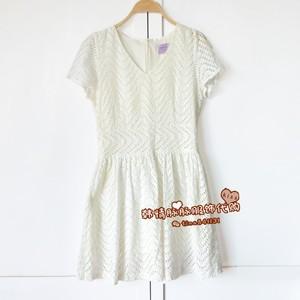 现货清仓特价韩国女装V领收腰气质时尚蕾丝清纯甜美短袖连衣裙A98