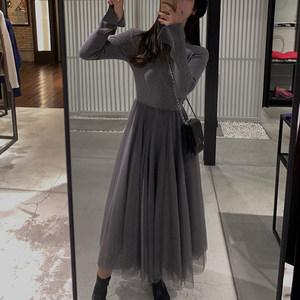 2019春季新款女装法式复古赫本中长款气质针织拼接网纱<span class=H>连衣裙子</span>