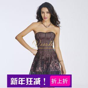 新品裹胸蕾丝条纹宫廷塑身<span class=H>连衣裙</span>性感夜店女装条纹束腰紧身短裙
