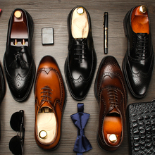 Korean version genuine leather Goodyear shoes Handmade men's shoes British formal business shoes Brock carved retro wedding shoes