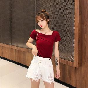 韩版新款2019设计感不规则百搭显瘦斜肩衬衫女单肩短袖<span class=H>上衣</span>潮