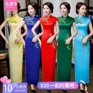 老上海<span class=H>旗袍</span>2019新款长款少女走秀演出改良中国风长款复古中式优雅