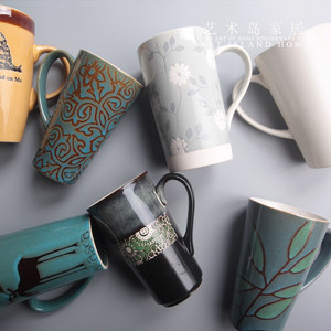 创意手绘大容量马克<span class=H>杯子</span><span class=H>陶瓷</span>欧式简约咖啡牛奶早餐情侣办公室水杯