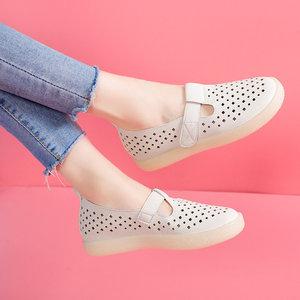 <span class=H>凉鞋</span>女2019新款牛筋软底豆豆鞋平底休闲孕妇护士镂空小白鞋洞洞鞋