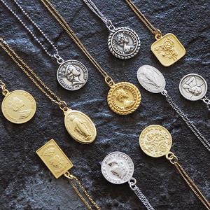 925纯银锁骨链女欧美潮人ins复古人像硬币钱币圣母双面中长款<span class=H>项链</span>