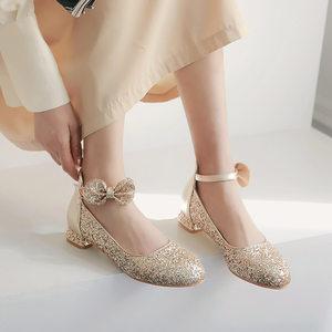 女童公主鞋2019春季儿童亮片水晶鞋大童学生演出鞋主持高跟<span class=H>皮鞋</span>