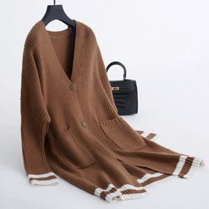 反季中<span class=H>长款</span><span class=H>开衫</span><span class=H>毛衣</span>女外套外搭慵懒软妹<span class=H>毛衣</span>外套女v领针织衫