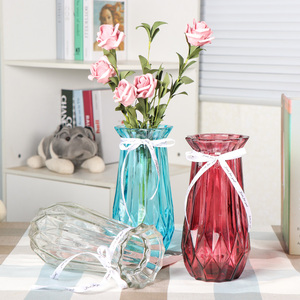 欧式创意大号玻璃花瓶水培植物绿萝富贵竹插花瓶客厅装饰台面<span class=H>摆件</span>