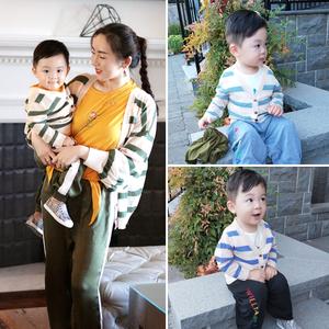 亲子装夏秋季节条纹针织开衫防晒衣中小童母子空调衫休闲薄款外套