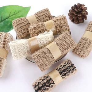蕾丝麻布卷花边麻绳装饰绳子手工DIY棉麻材料复古编织宽扁麻织带