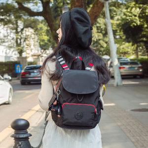 猴子包翻盖式中号双肩包女旅行休闲背包防水尼龙书包校园帆布背包