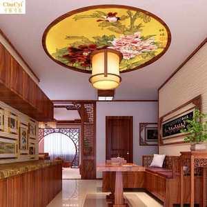 中式牡丹吊顶墙纸墙贴 个性天花板圆形灯池自粘壁画 花开富贵顶