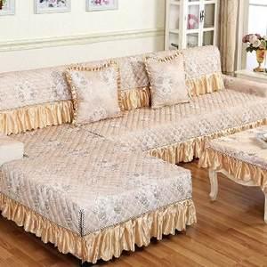 群主家四季亚麻沙发垫欧式蕾丝布艺时尚防滑皮沙发<span class=H>坐垫子</span>沙发巾沙