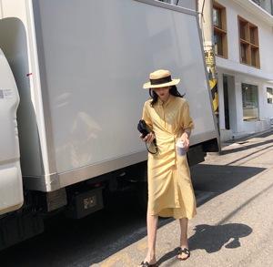花伦家 韩版不规则立领衬衫连衣裙女九分袖开叉设计感显瘦裙子仙