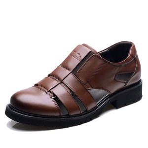 高档迪斯勒男真皮头层皮包头<span class=H>凉鞋</span>厚底商务正装透气凉皮鞋牛皮男鞋