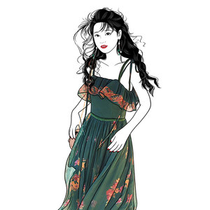 《祖母的花园》祖母绿文艺复古印花绑带小吊带<span class=H>连衣裙</span>女春秋裙子夏