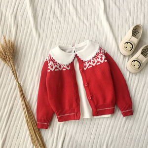 童装春秋女童雪花毛衣小童宝宝<span class=H>开衫</span>厚红色洋气婴儿针织外套纯棉