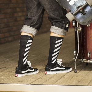 帕耐克<span class=H>丝袜</span>袜子男长袜街头欧美滑板长袜子男潮长筒长腰冬季黑色