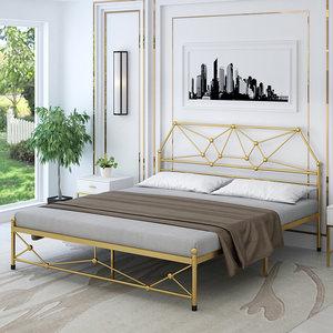 北欧简约铁艺床 1.8米双人床 宜家铁架床 现代风格1.5米床 公主床
