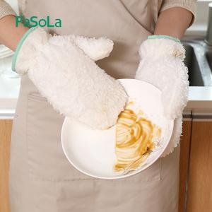 冬天防水洗碗<span class=H>手套</span>女加绒竹纤维耐用型家务神器家用洗碗布洗碗巾
