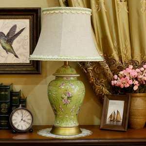 欧式陶瓷台灯客厅书房卧室床头复古台灯美式别墅全铜陶瓷调光台灯