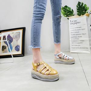 韩版夏季新款英伦风布洛克做旧亚麻包头镂空凉鞋休闲鞋<span class=H>女鞋</span>潮<span class=H>鞋子</span>
