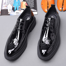 British heavy-soled lace-up casual leather shoes, single shoes, European and American lacquered Brock carved men's shoes