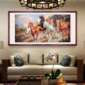 国画八骏图中式客厅<span class=H>装饰画</span>办公室书房挂画沙发背景墙有框马到成功