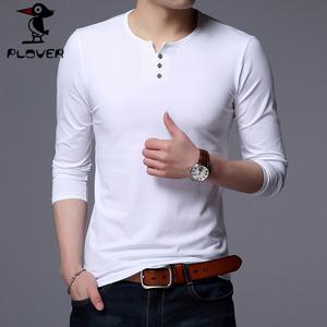 领100元券购买Plover长袖T恤男圆领2019春季新款薄款韩版休闲潮男修身白色纯色