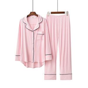 新款莫代尔睡衣薄款长袖长裤夏季套装冰丝宽松家居服两件套<span class=H>月子服</span>