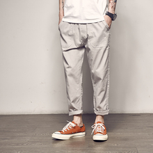 Men's Road Summer New Japanese Simple Cotton Nine Pants Men's Original Trends Youth Loose Joker Casual Pants