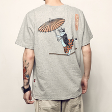Men's Way Summer New Japanese Retro Acrobatics Cat Printed Short-sleeved T-shirt Boys Student Interesting TEE Baitie Top