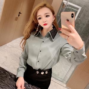 2019春装新款 韩版时尚 娃娃领vetiver衬衫女设计感小众衬衣