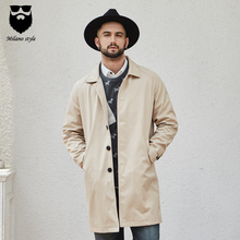 Milan Fan Er Spring and Autumn 2018 New Windswear Men's Long Overcoat Fashion Leisure Coat British Windswear