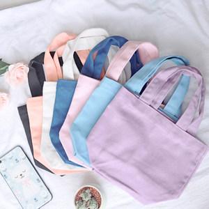 手工帆布包糖果色便当袋手提小<span class=H>布袋</span> 日系饭盒袋小手袋儿童小拎包
