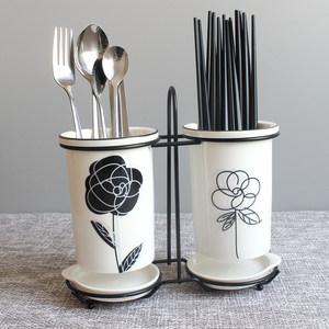 陶瓷筷子筒沥水 家用筷子桶<span class=H>筷子盒</span> 北欧收纳置物架筷笼筷筒筷子笼