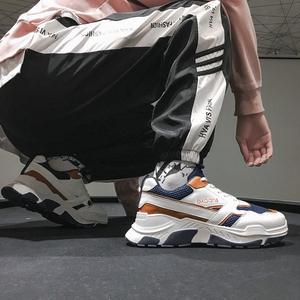 2018冬季新款百搭拼色休闲低帮鞋运动鞋男士透气板鞋韩版潮男<span class=H>鞋子</span>