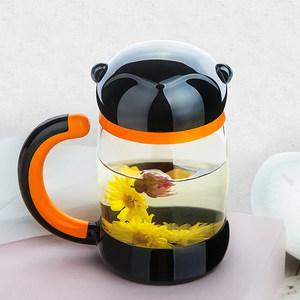 天喜<span class=H>杯子</span>双层清新玻璃杯便携过滤带盖女士泡茶杯创意可爱猴子水杯