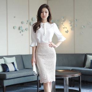 2019夏季新款韩版女装宽松显瘦立领喇叭袖气质ol雪纺衬衫休闲<span class=H>上衣</span>