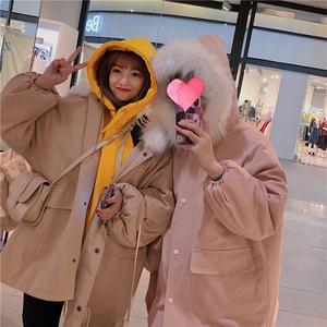 棉袄女冬季2018新款韩版加厚大毛领<span class=H>棉衣</span>外套中长款ins棉服面包服
