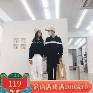 2018米卡斯micas自制女露肩拼接薄款<span class=H>上衣</span>男款卫衣原创情侣装