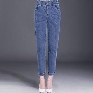 妈妈牛仔裤秋装40岁50中年<span class=H>女裤</span>2018新款中老年松紧高腰宽松长裤子